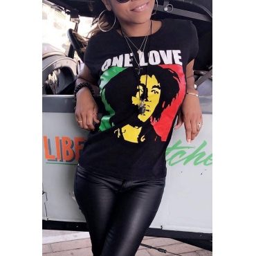 Lovely Casual Portrait Printed Black T-shirt
