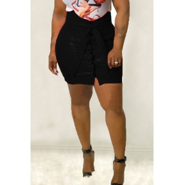 Lovely Casual Buttons Black PU Mini Skirts