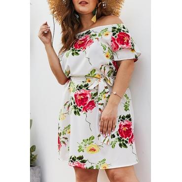 Lovely Plus-size Floral Printed White Mini Dress