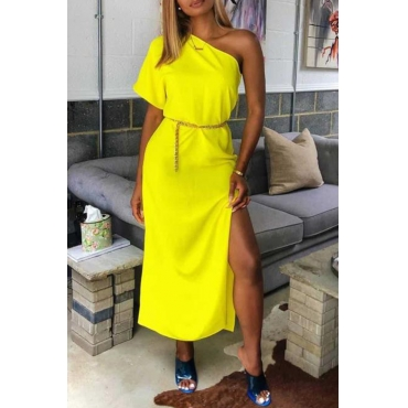 Lovely Casual One Shoulder Yellow Mid Calf Dress(Without Belt)
