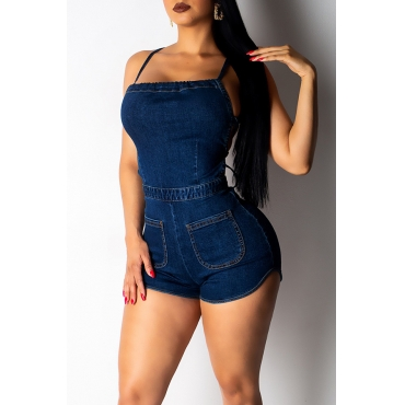 Lovely Women s Sexy Backless Dark Blue Romper(With Elastic)