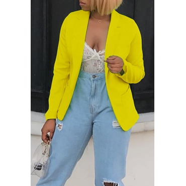 Lovely Yellow Casual Jacket