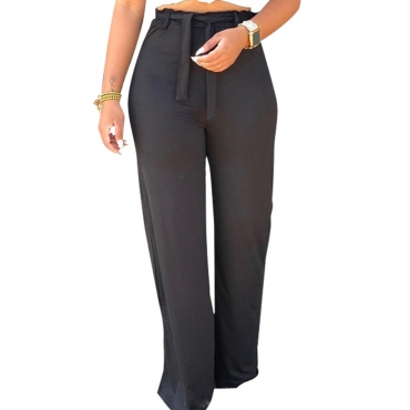 Lovely High Waist Lace-up Black Pants(With Elastic)
