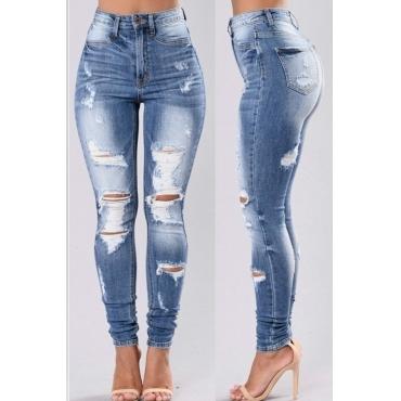 Lovely Stylish High Waist Broken Holes Jeans