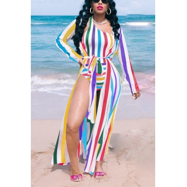 Lovely One Shoulder Striped One-piece Swimwear (With Cover-up)