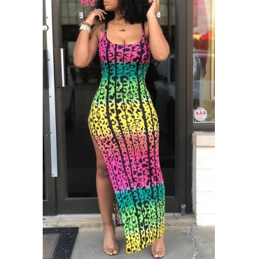 Lovely Casual Printed High Split Ankle Length Dress(With Elastic)
