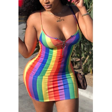 Lovely Sexy Striped Multicolor Mini Dress(With Elastic)