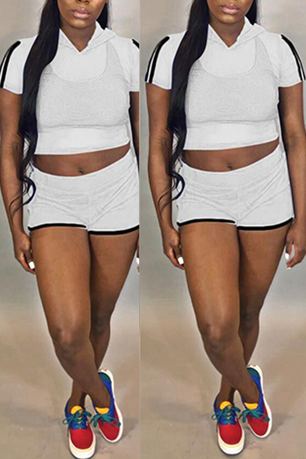 Lovely Trendy See-through White Two-piece Shorts Set( Without Take Inside)