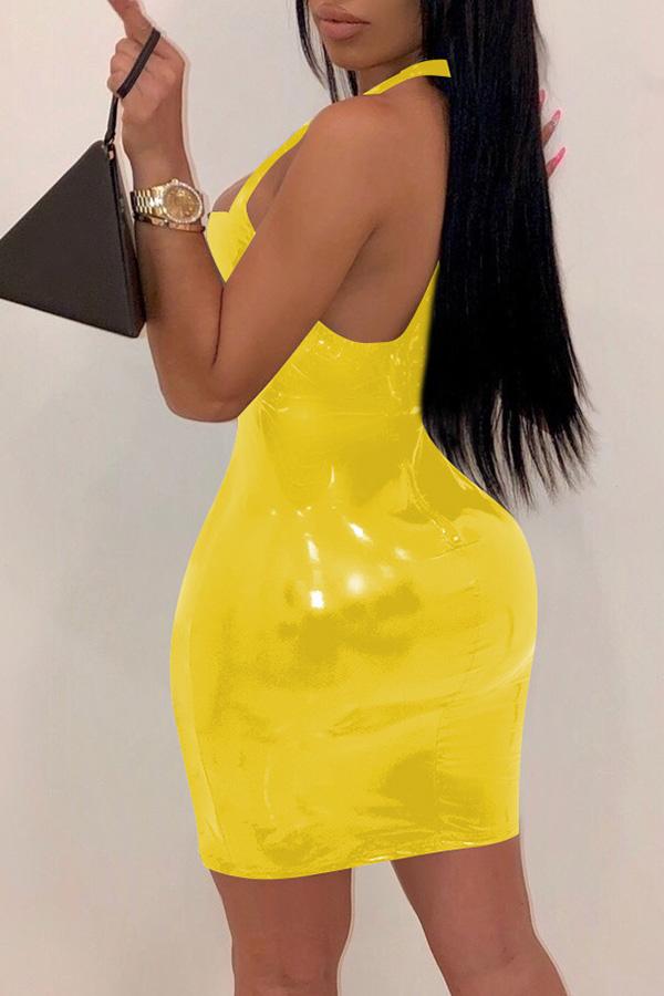 Lovely Sexy Hollowed-out Yellow PU Mini Dress