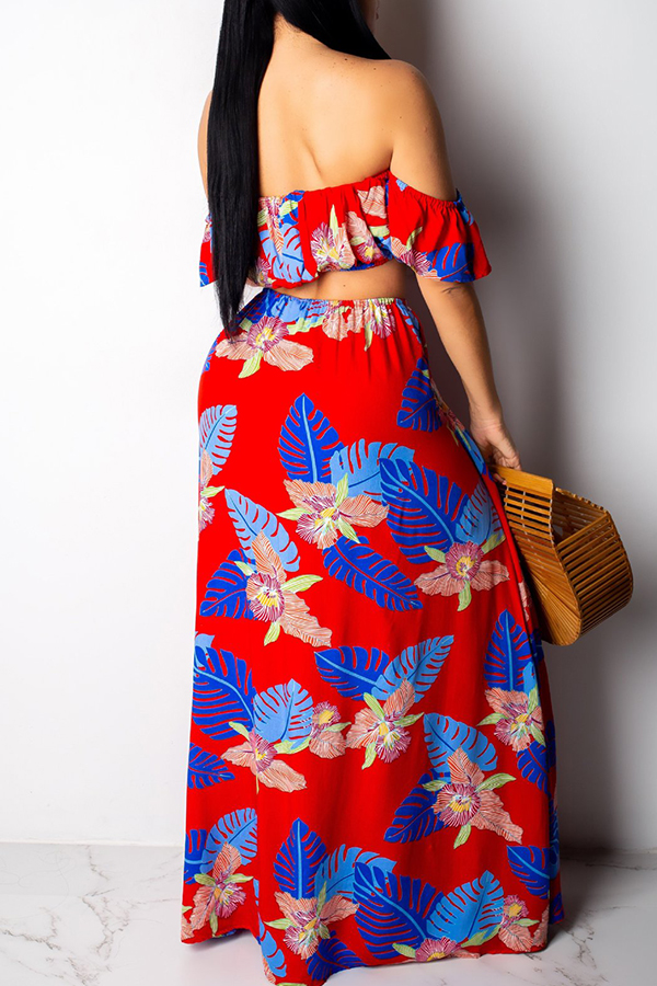 Lovely Trendy Floral Printed Side High Slit Red Two-piece Skirt Set