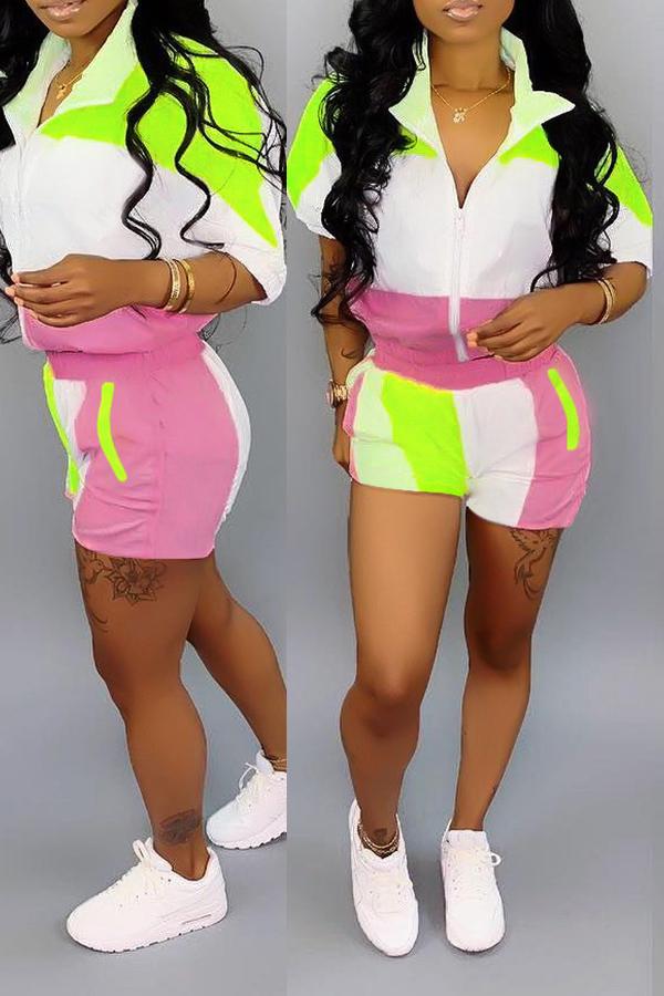 Precioso Conjunto De Pantalones Cortos De Dos Piezas De Patchwork Casual Verde
