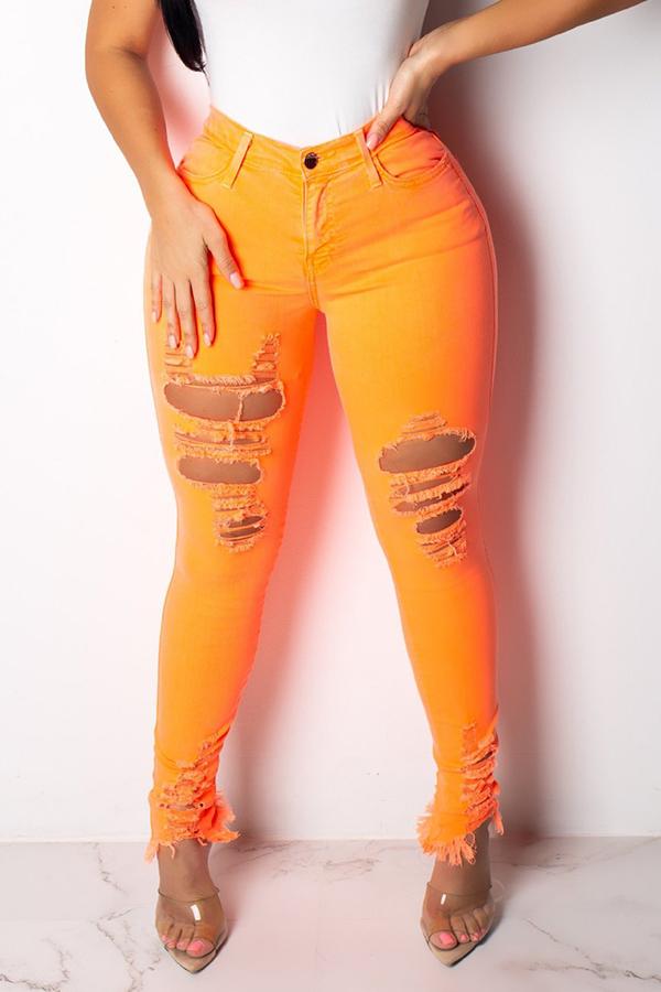 Lovely Casual High Waist Broken Holes Orange Jeans