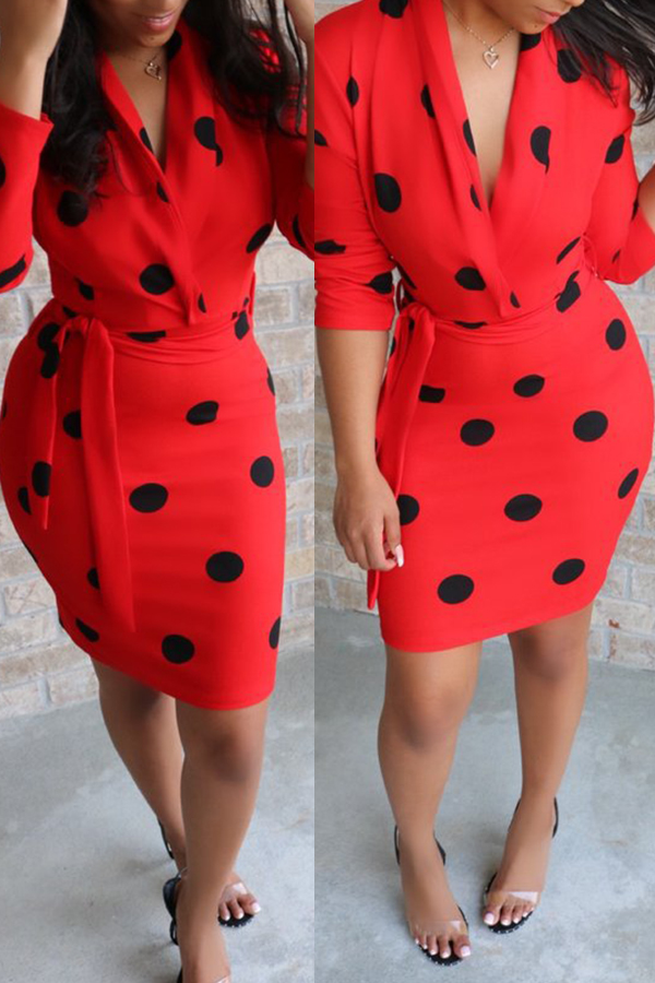 Lovely Stylish Dots Printed Red Mini Dress(With Belt)
