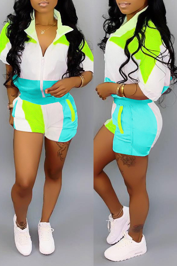 Lovely Casual Patchwork Blue Two-piece Shorts Set