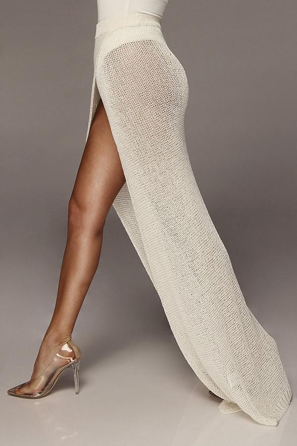 Lovely Women's High Split White Ankle Length A Line Skirts