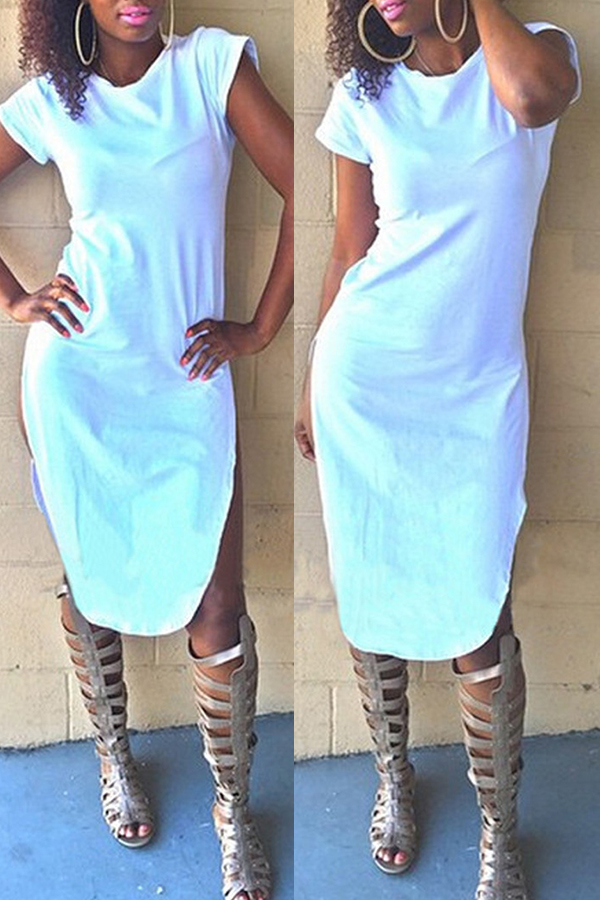 Lovely Casual O Neck White Dress(With Elastic)