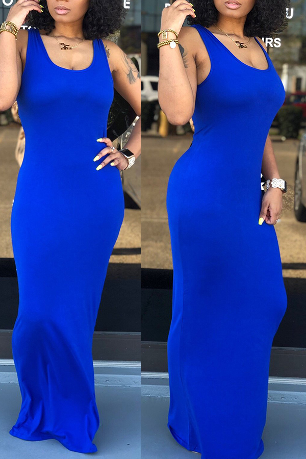 Lovely Casual Royal Blue Floor Length Dress(With Elastic)