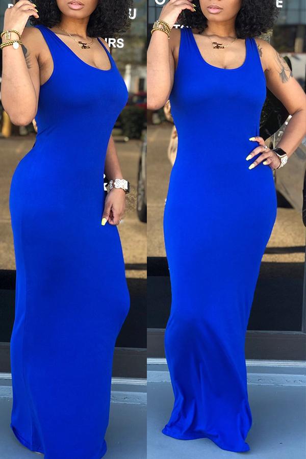 Lovely Casual Royal Blue Floor Length Dress(With Elastic)