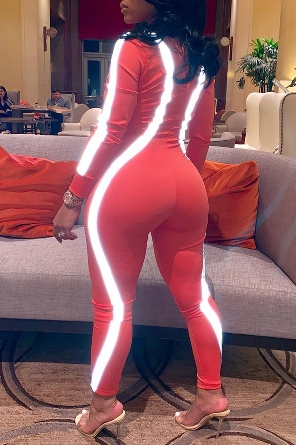 Lovely Casual Zipper Design Orange One-piece Jumpsuit(With Elastic)