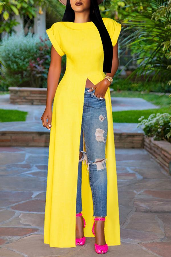 Lovely Stylish High Split Yellow Blouse