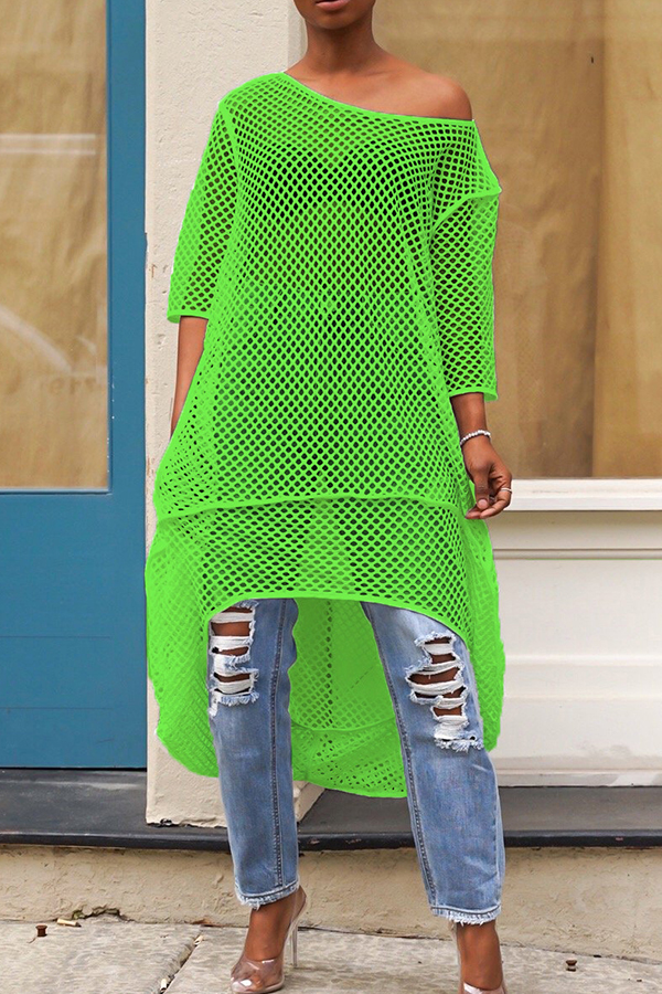 lovelywholesale / Cheap Blouses&Shirts Lovely Casual Hollow-out Green Blouse