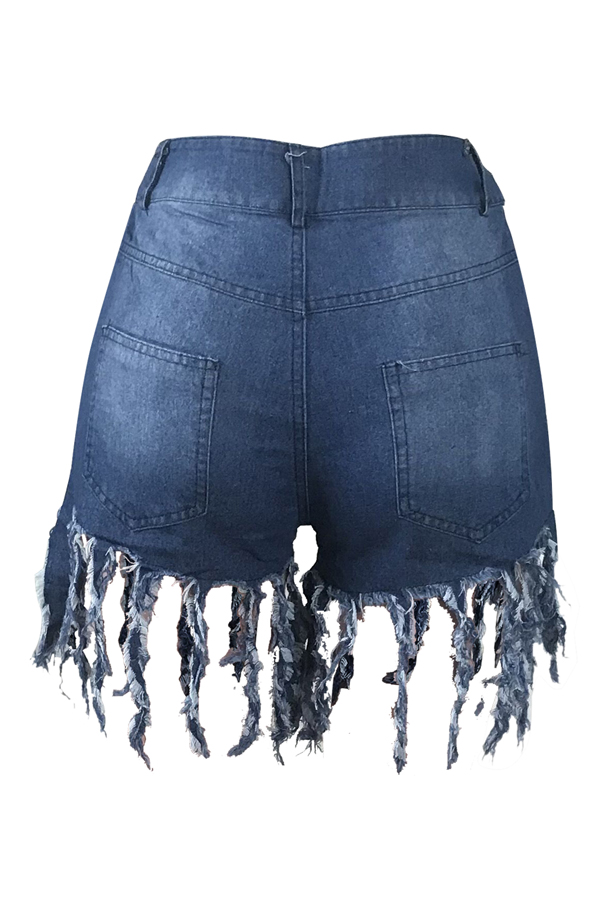 Lovely Casual Tassel Design Blue Jeans