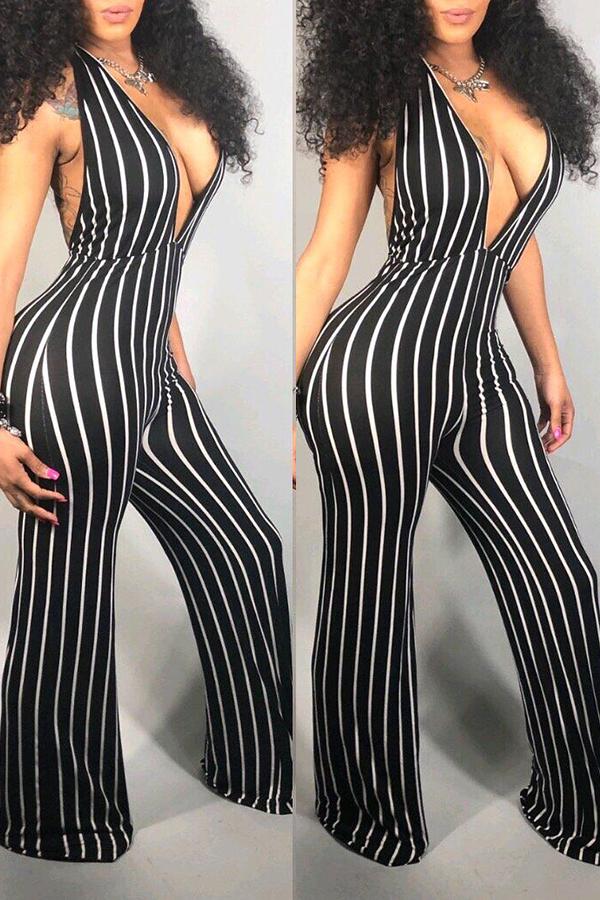 Lovely Women's Deep V Neck Striped Backless Black One-piece Jumpsuit