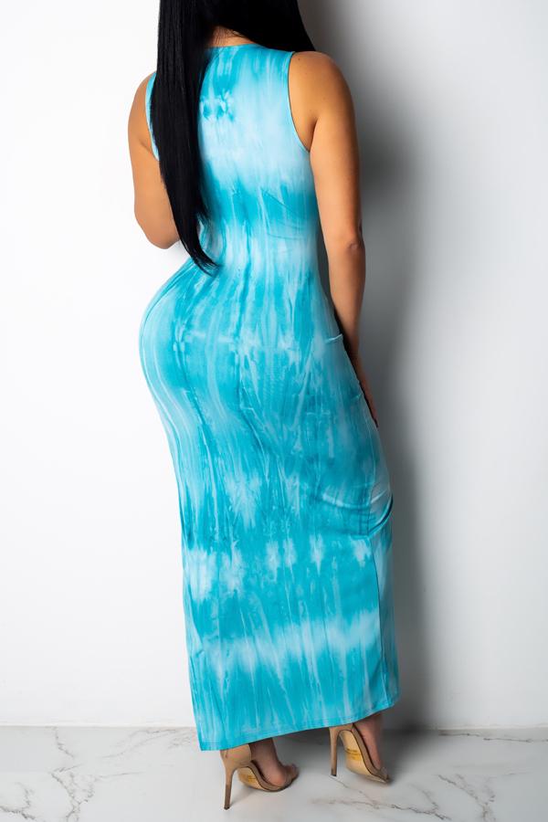 Lovely Women's Side Split Light Blue Ankle Length Dress