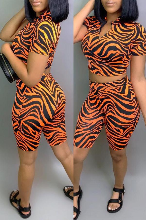 Lovely Leisure Printed Orange Two-piece Shorts Set