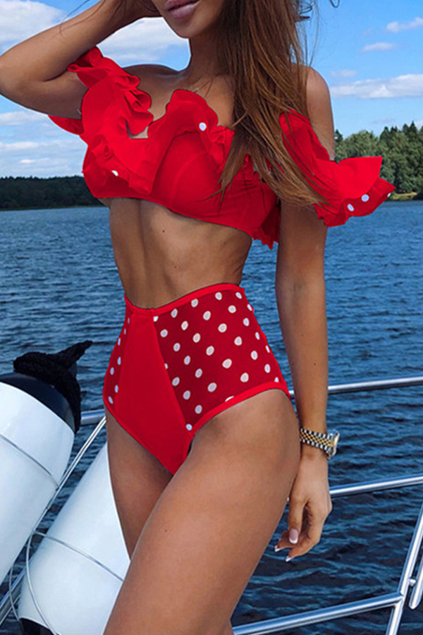 Lovely Dots Printed Red Two-piece Swimwear