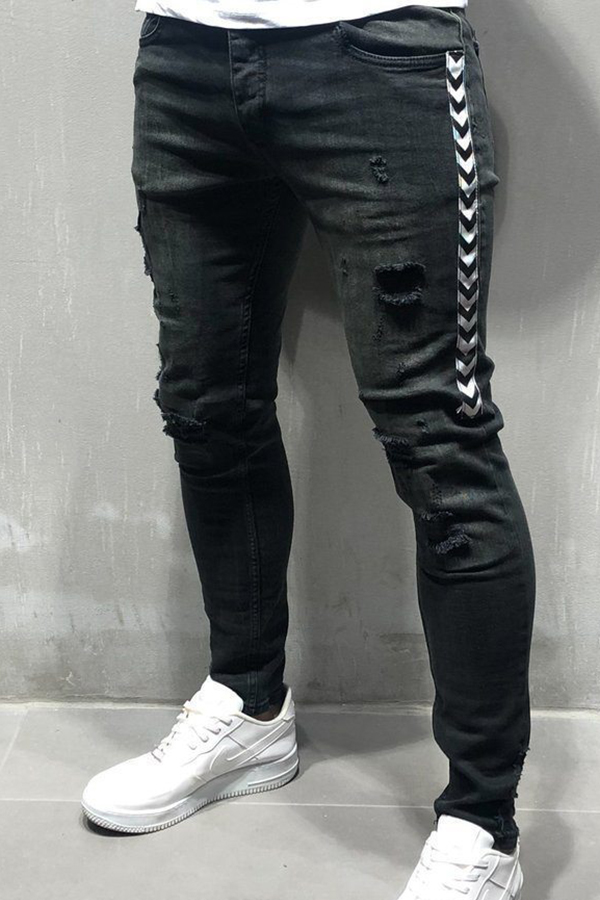 Lovely Leisure Striped Patchwork Black Jeans