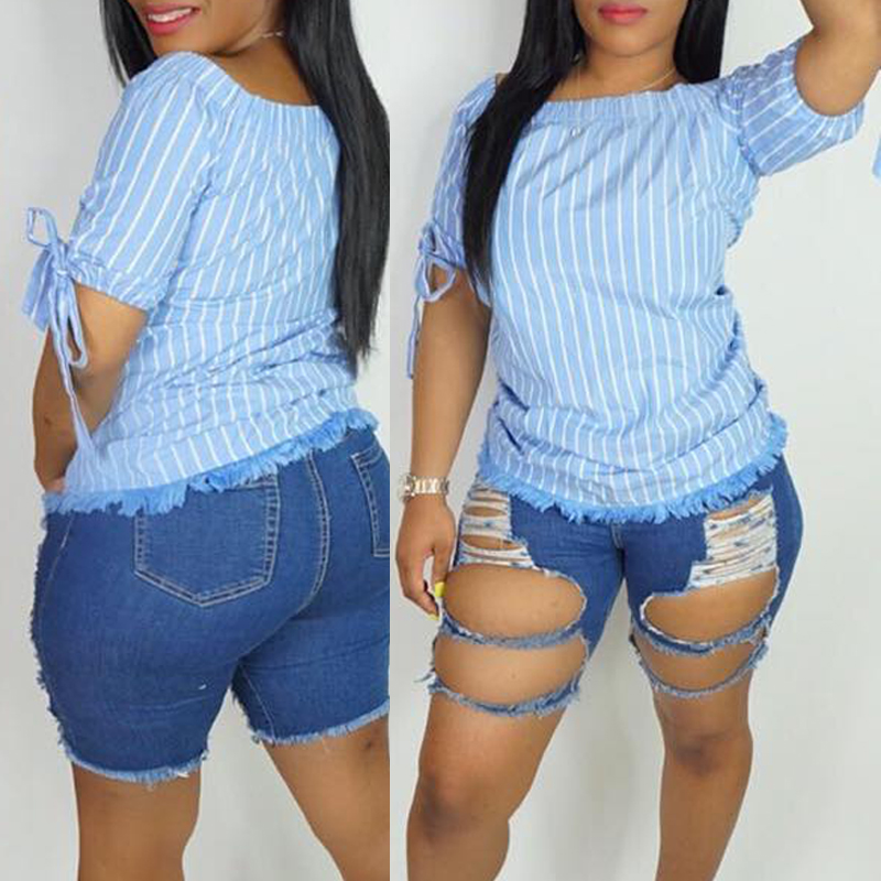 Lovely Casual Raw Edge Blue Blouses