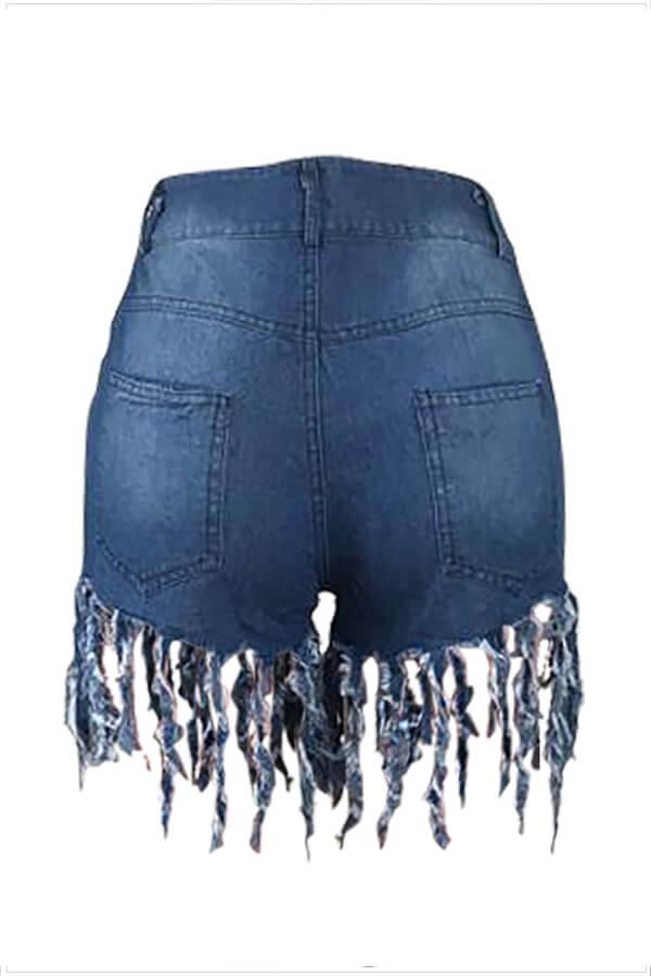 LW Lovelywholesale Casual Tassel Design Blue Jeans