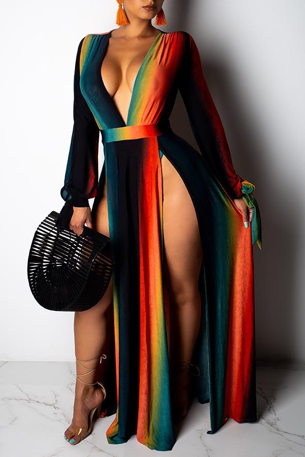 Lovely Sexy Deep V Neck High Split Ankle Length Dress