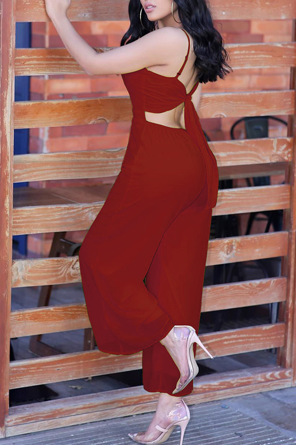 Lovely Casual Hollow-out Wine Red One-piece Jumpsuit