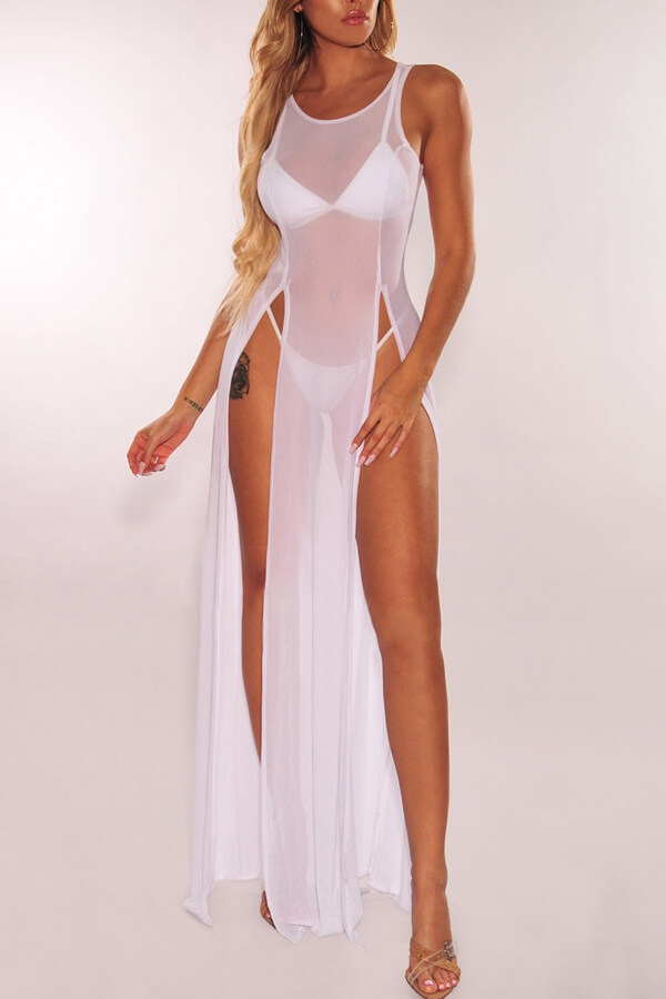 Lovely Sexy White See-though High Split Cover-Ups(Without Lining)