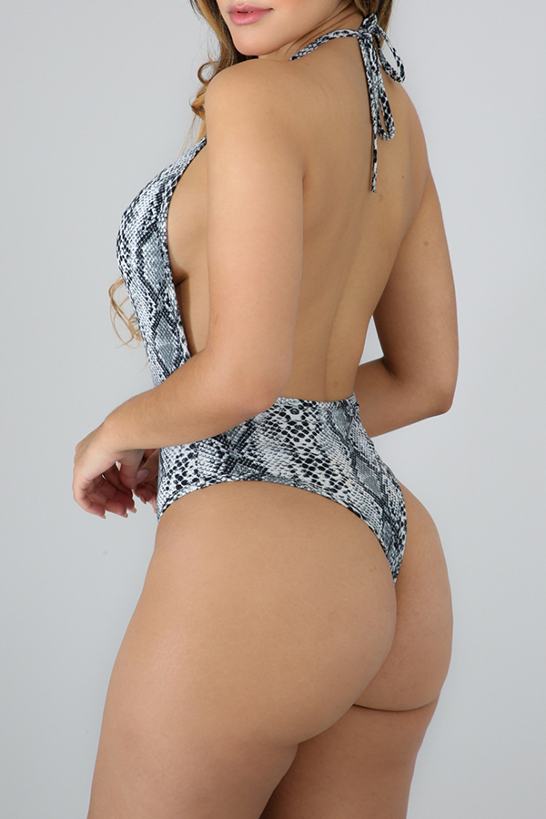 Lovely Sexy Halter Neck Snakeskin Pattern Grey One-piece Swimwear