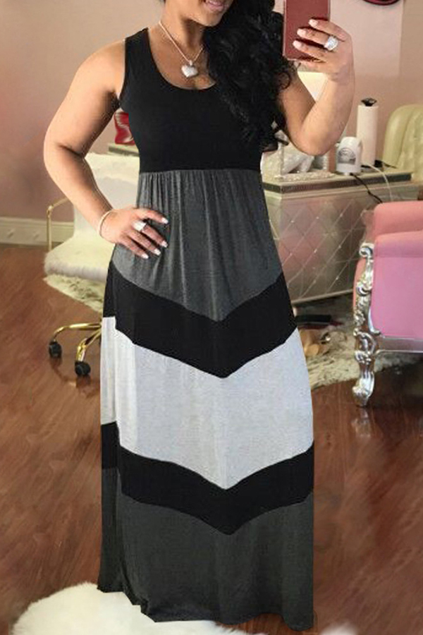 Lovely Casual Black-white Patchwork Ankle Length Maxi Dress
