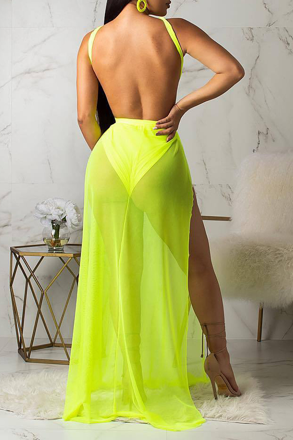 Lovely Sexy See-though Backless Yellow Floor Length A Line Dress Cover Ups