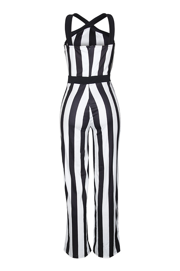 Lovely Stylish Off The Shoulder Striped Black-white One-piece Jumpsuit