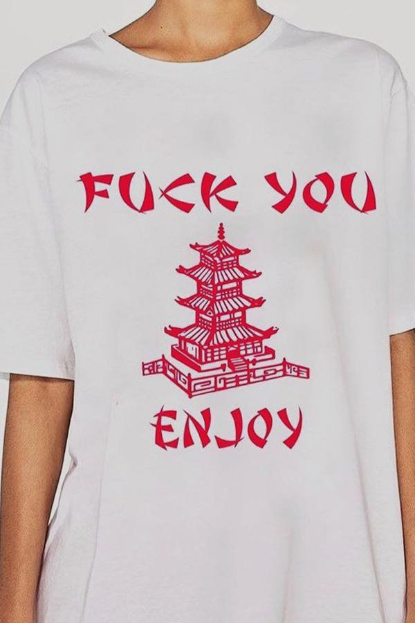 Lovely Leisure Letter Printed White T-shirt