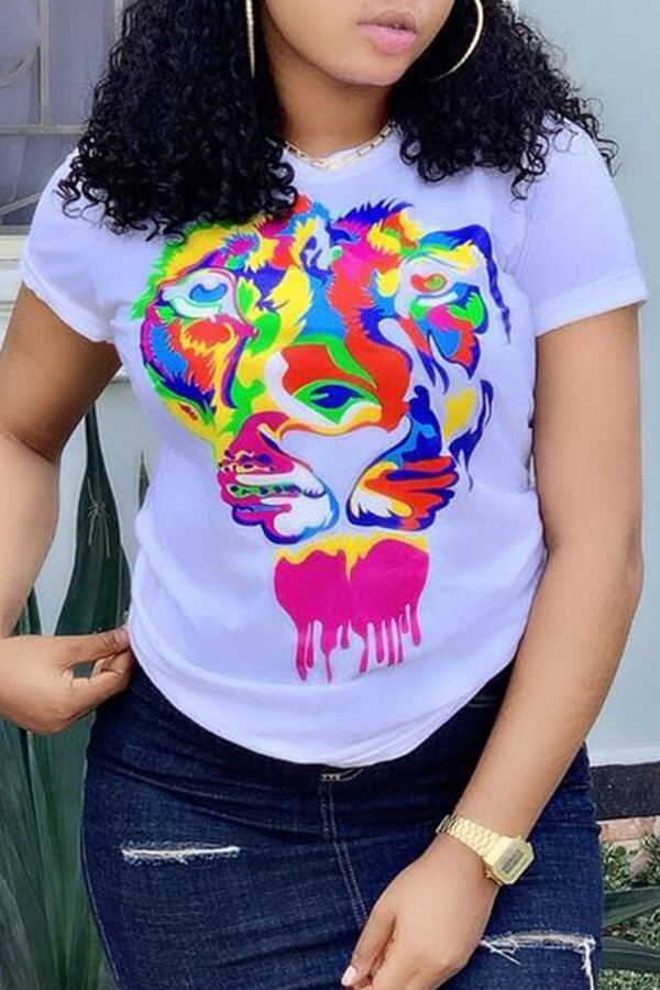 Lovely Casual Animal Printed White T-shirt