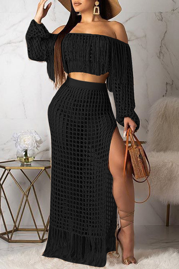 Lovely Sexy Hollow-out Tassel Design Black Two-piece Skirt Set(Without Lining)