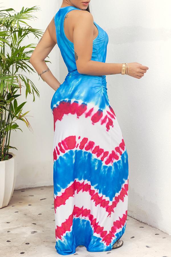 Lovely Casual O Neck Printed Blue Floor Length Dress