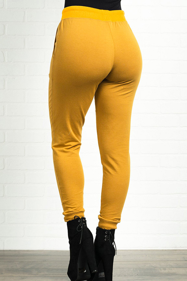 Lovely Casual High Elastic Yellow Pants