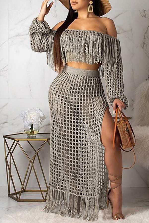 Lovely Sexy Hollow-out Tassel Design Grey Two-piece Skirt Set(Without Lining)