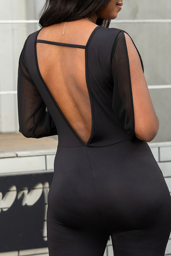 Lovely Casual V-shaped Backless Black One-piece Jumpsuit