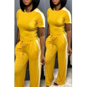 Lovely Trendy Striped Patchwork Yellow Two-piece P