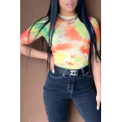 Lovely Casual Printed Skinny Multicolor T-shirt(Wi