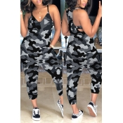 Lovely Casual Camouflage Printed Grey One-piece Ju